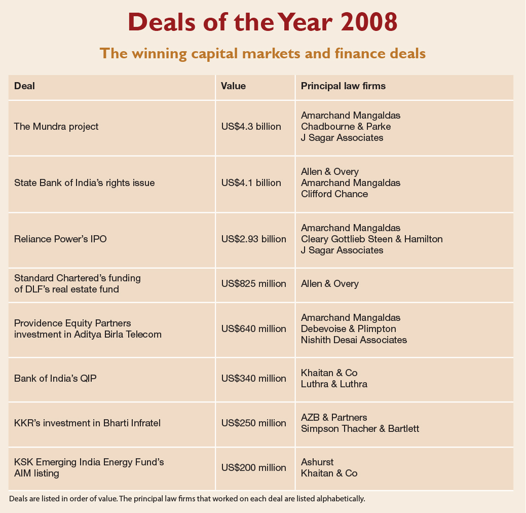 Deals of the Year 2008 The winning capital markets and finance deals