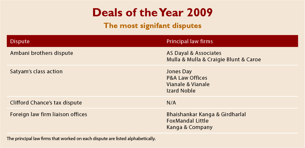 Deals of the Year 2009 - the most signifant disputes