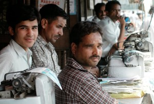 Time is money: Clerks ply their trade outside one of India's busy courts.