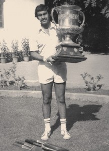 Ranji Dua with the All-India Inter University Lawn Tennis Trophy in 1973