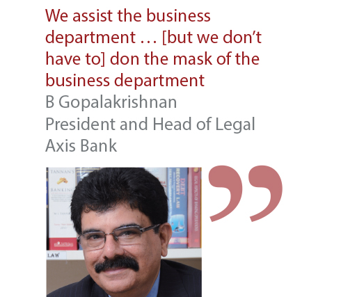 B Gopalakrishnan President and Head of Legal Axis Bank