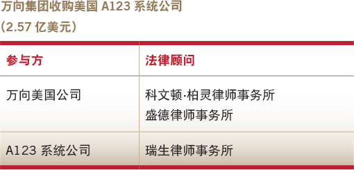 Deals of the year-Overseas M&A-Wanxiang's acquisition of A123 Systems