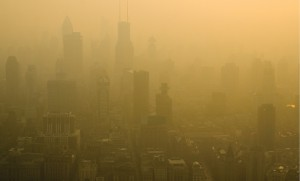 Shanghai on a bad day. Emissions trading measures are aimed at clearing these skylines.