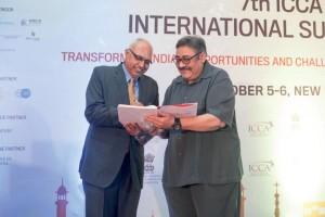 ICCA president Ashok Sharma (left) and Luthra & Luthra founder and managing partner Rajiv Luthra share a moment
