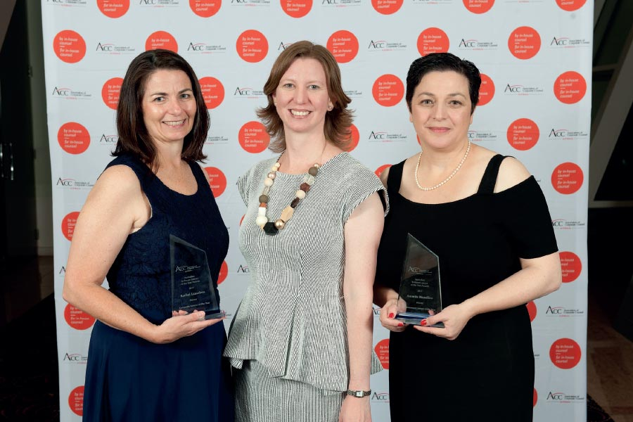 From left to right: Rachel Launders, general counsel and company secretary, Nine Entertainment, and 2017 Corporate Lawyer of the Year; Karen Grumley, legal counsel, Queensland, at Pacific National and President, ACC Australia; and Annette Musolino, chief counsel, Department of Human Services, and 2017 Government Lawyer of the Year.