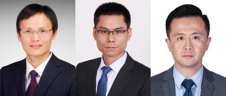 (from left) Li Gang, Samuel Qi, Sun Honggang