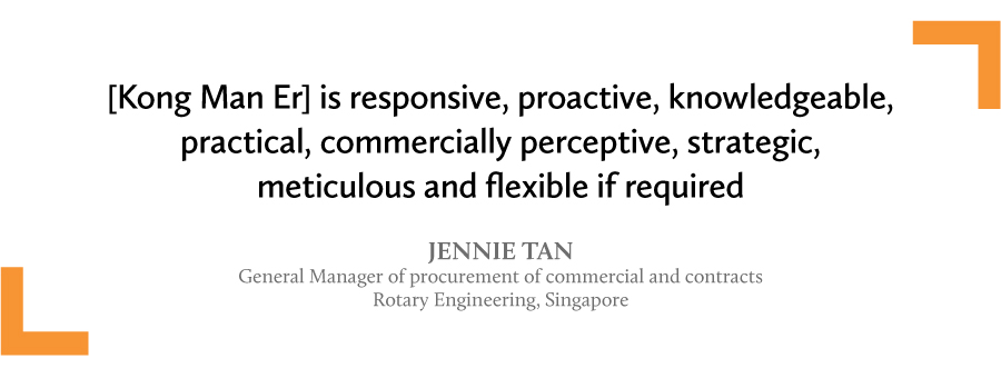 A quote by Jennie Tan to Kong Man Er
