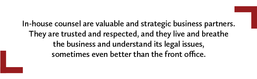A quote about the value of in-house counsel as strategic business partners