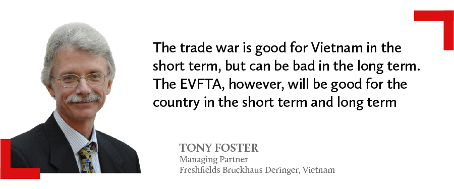 Tony Foster, Managing Partner from Freshfields Bruckhaus Deringer in Vietnam comments on the good and bad of the trade war