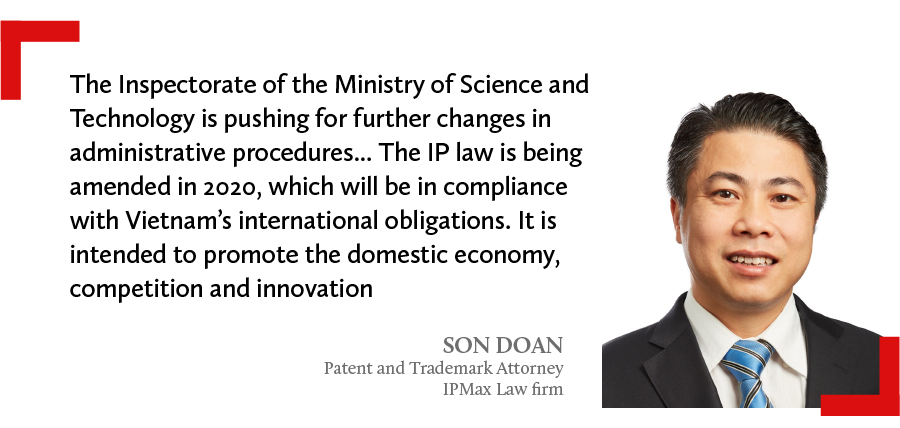 A quote of Son Doan, partner and trademark attorney at IPMax Law firm in Vietnam says IP law is being amended in 2020