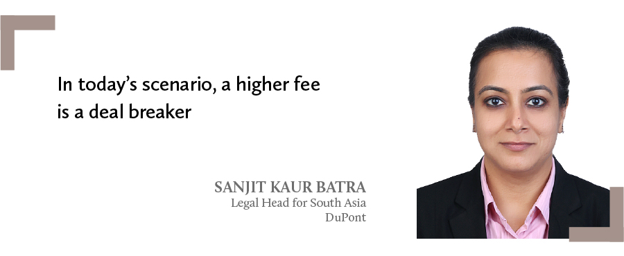 A quote by Sanjit Kaur Batra, legal head for South Asia DuPont on deal breaker for law firm billing rates