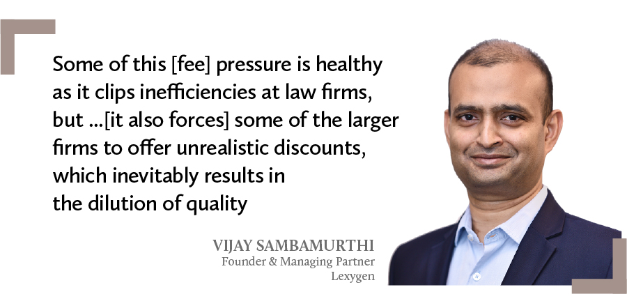 A quote by Vijay Sambamurthi, founder & managing partner at Lexygen on dilution of quality in law firms' services