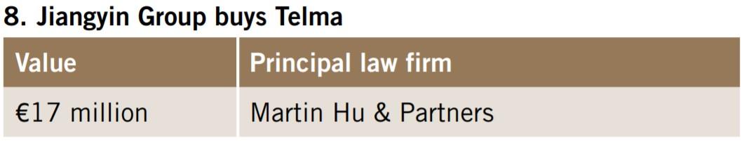 Jiangyin Group buys Telma